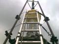 Práce na zvonici kostela v Horní Polici